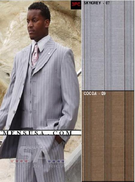 SKU#MF2704 Fashion Suit with 35 Inch Jacket and a Pleated Back Coat Lapeled Vest $159