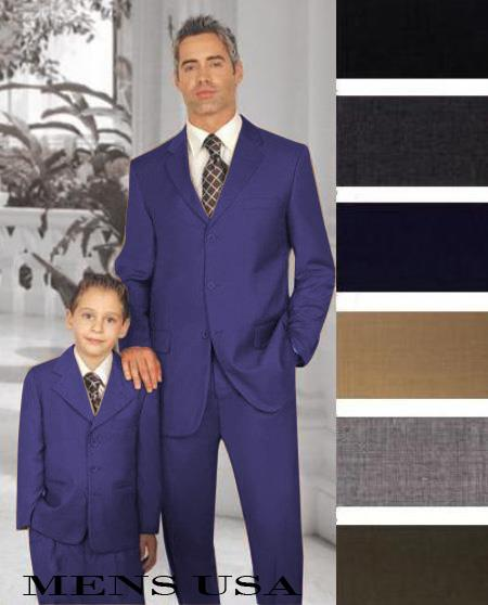 1 Men + 1 Boy Matching Set For Both Father And Son 2 For $278 Suit Dark Blue