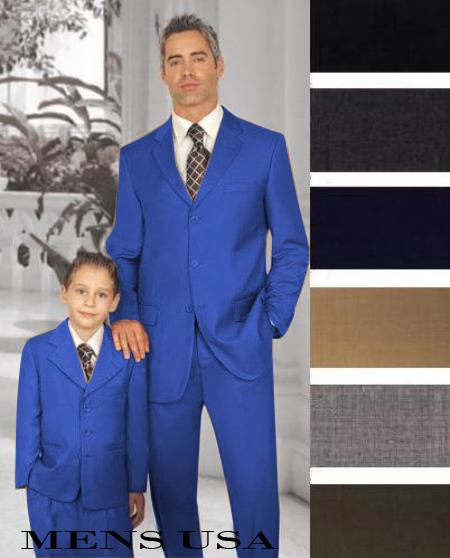 1 Men + 1 Boy Matching Set For Both Father And Son 2 For $278 Dress Suits for Men Royal Blue