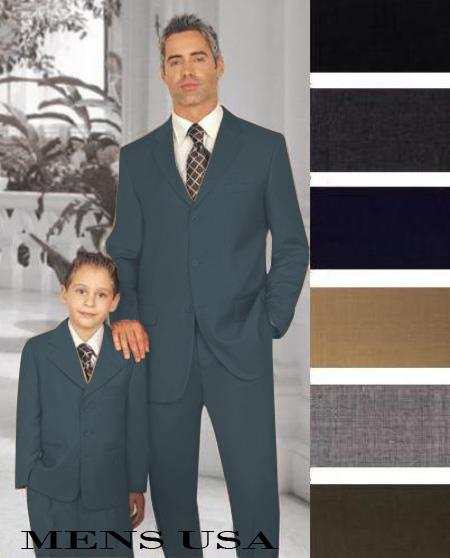 1 Men + 1 Boy Matching Set For Both Father And Son 2 For $278 Suit Dark Grey