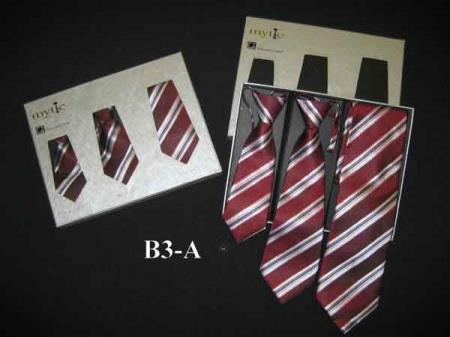 Buy SM350 Mytie Father Sons Burgundy ~ Wine ~ Maroon Color Stain Resistant Matching Ties Set