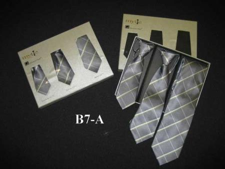 SM361 Fabric Protector Mytie Grey Father Sons Matching Ties Set Stain Resistant