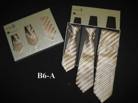 Buy SM369 Mytie Tan Fabric Protector Stain Resistant Father Sons Matching Ties Set