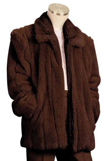 Mens Faux Fur 3/4 Length Coat Brown