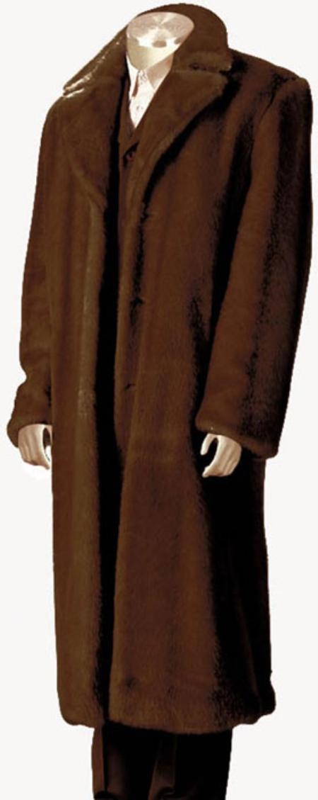 1960s Men's Clothing, 70s Men's Fashion Mens Faux Fur Full Length Coat Brown $199.00 AT vintagedancer.com