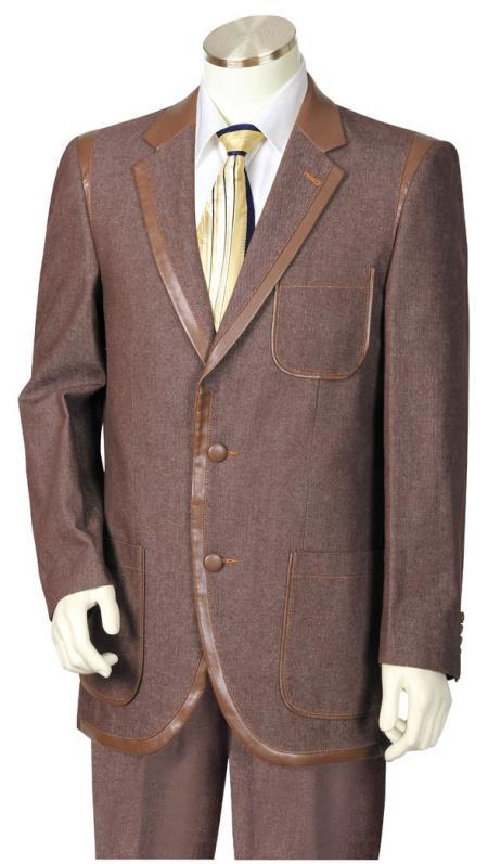 Men's Button Fastener Faux Leather Contours Denim Brown Zoot Suit