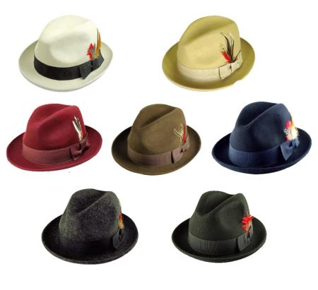 Buy N-2901 New Men's 100% Wool Fedora Trilby Mobster Hat 6 Colors