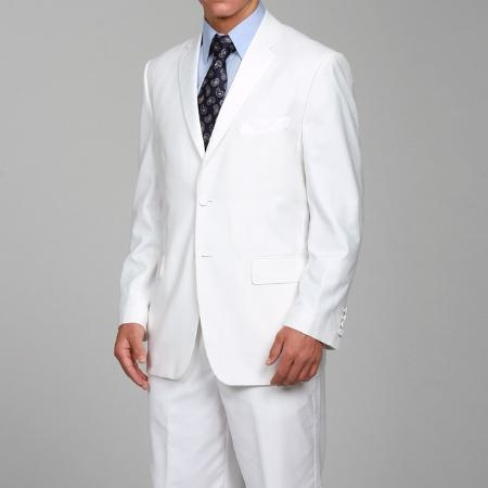 Ferre Men's White Two-button Suits For Men With Flat Front Pants  - All White Suit
