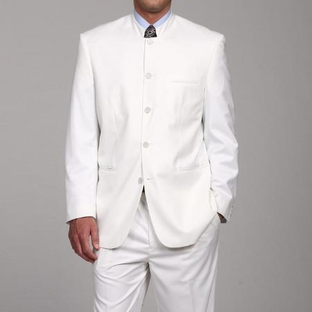 SKU#FL665 Ferre Mens White 5 button Mandarin Collar Suit $129