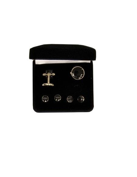 Buy GD151 Ferrecci Black Favor Cuff Links 6pieces Set Silver Tuxedo Button Cover Fancy Gift Box