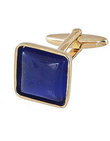 Mens Ferrecci Favor Blue Cuff Links 3Pcs Set With Fancy Gift Box