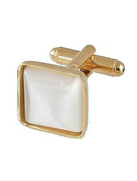 Mens Ferrecci Favor Pearl Cuff Links 3Pcs Set With Fancy Gift Box