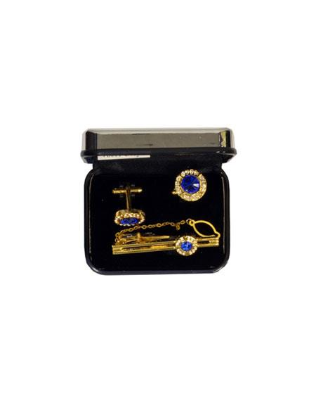 Buy VS001-G Ferrecci Blue Favor Cuff Links 3pieces Set Gold Fancy Gift Box