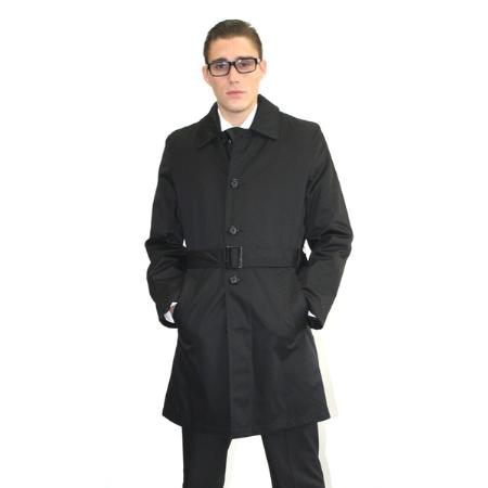 SKU#MAB38 Mens Black Belted Trench Coat