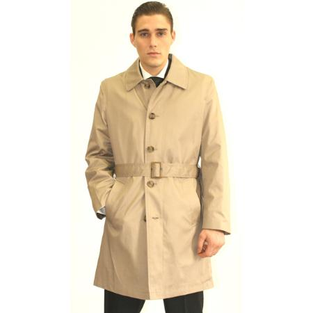 SKU#CRA52 Mens Cream Belted Trench Coat