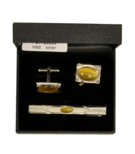 Buy X002 Ferrecci Gold Favor Cuff Links 3pieces Set Silver Fancy Gift Box