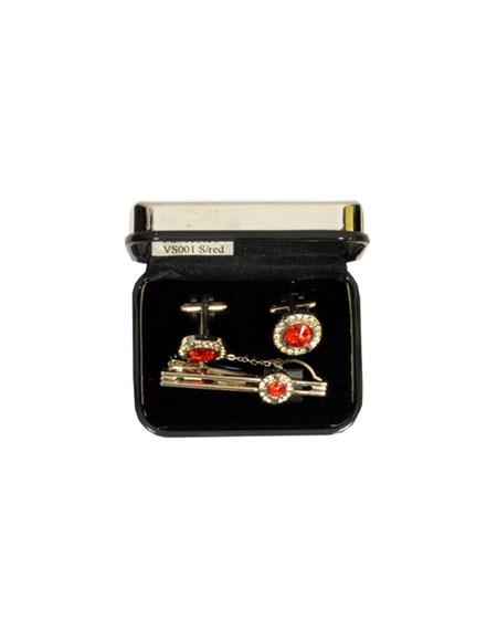 Buy VS001 Ferrecci Red Favor Cuff Links 3pieces Set Silver Fancy Gift Box