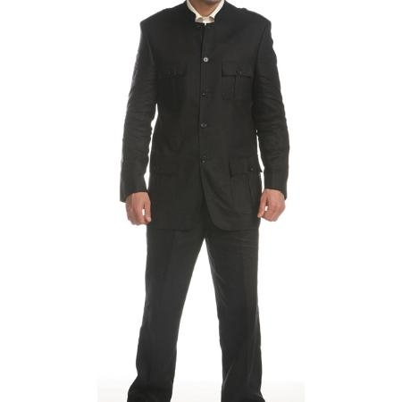 SKU#FE1368 Ferrecci Mens Black Linen Mandarin Collar Suit $149