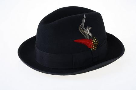 SKU#EB2834 Mens Black Wool Fedora