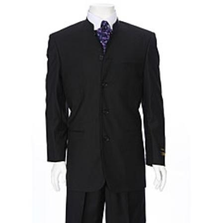 SKU#GL3900 Ferrecci Mens Black Mandarin Collar Suit $595