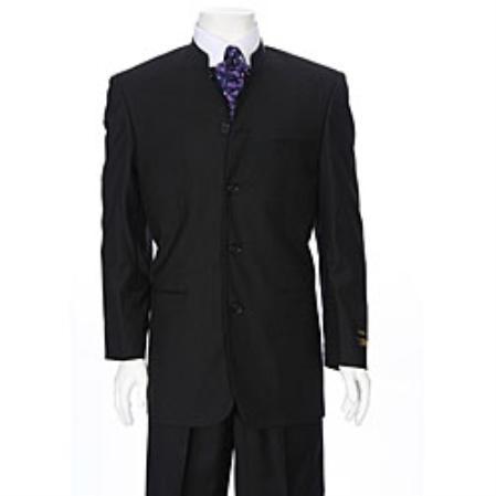 SKU#GL3900 Mens Black Mandarin Collar Suit - 30 days delivery $595