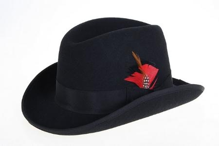 SKU#BL8921 Mens Black Wool Felt Fedora