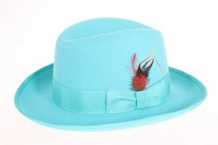 SKU#EP8360 Mens Blue Wool Felt Fedora $49