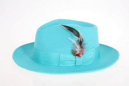 SKU#BL8360 Mens Blue Wool Felt Fedora
