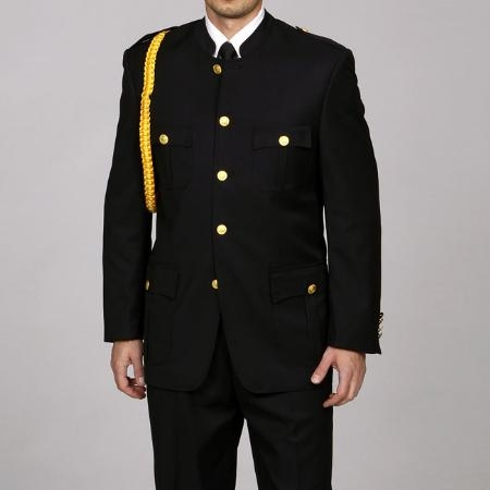 SKU#CU2834 Ferrecci Mens Cadet-Uniform Black Suit $149
