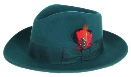 SKU#DG9475 Ferrecci Mens Dark Green Wool Felt Fedora $49