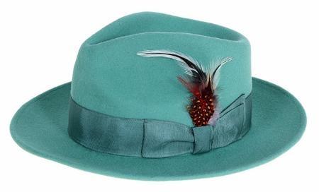 SKU#EM3946 Ferrecci Mens Emerald Wool Felt Fedora $49