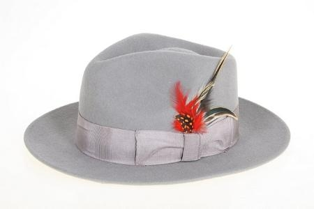 SKU#PL1090 Mens Gray Wool Felt Fedora