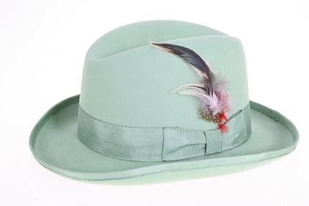 SKU#MG9371 Mens Mint Green Wool Felt Fedora