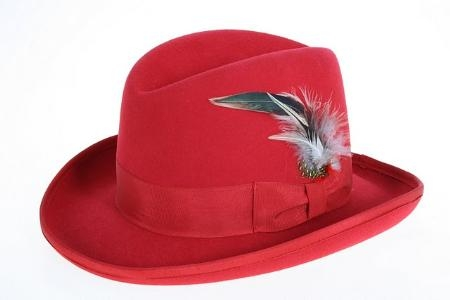 SKU#UA8376 Mens Red Wool Felt Fedora