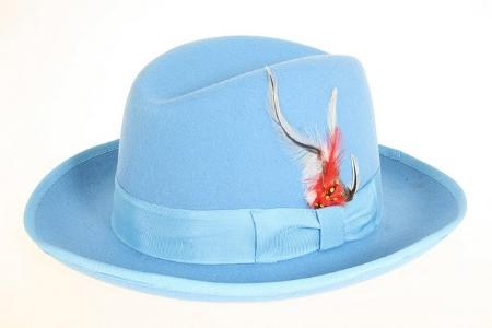 SKU#TL0809 Mens Light Blue ~ Sky Blue Wool Felt Fedora