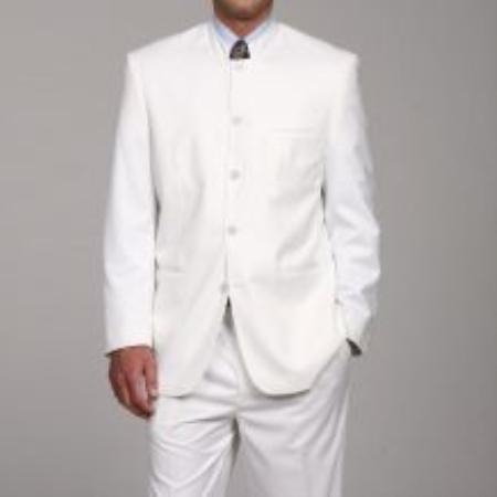 SKU#DL8882 Mens White Mandarin Collar Suit $300