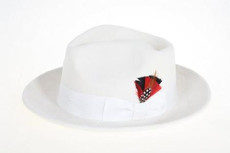 SKU#WH0475 Mens Off White Wool Felt Fedora $49