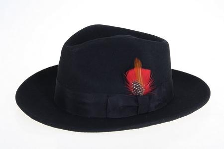 SKU#XB8989 Mens Wool Felt Fedora Black