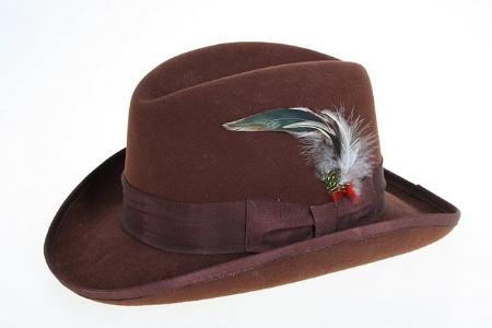 SKU#ZL8473 Mens Wool Felt Fedora Brown