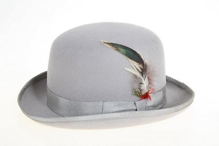 SKU#GR1231 Mens Wool Felt Fedora Grey