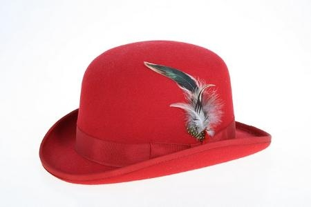 SKU#LA3685 Mens Wool Felt Fedora Red