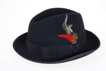 SKU#TS9573 Ferrecci Mens Wool Fedora Black $49
