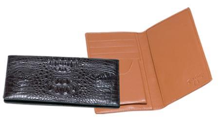 Men's Genuine Exotic Animal Skin Ferrini Genuine Hornback Crocodile Checkbook Wallet in Black & Brown