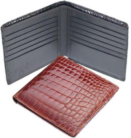 Genuine Crocodile Wallet BlackCognac