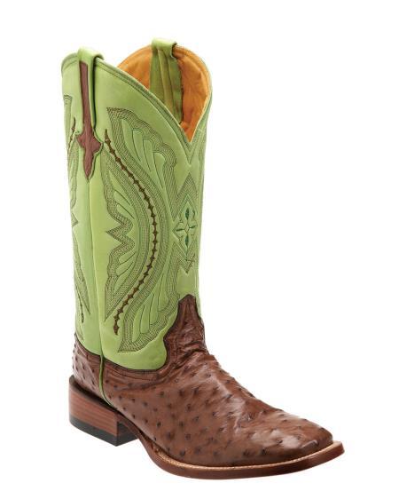 Buy JU2K Ferrini Men's Full Quill Ostrich S-Toe Boot - Kango/lime mint