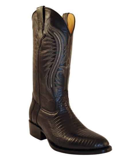 Ferrini Men's Teju Lizard R-Toe Boot - Black