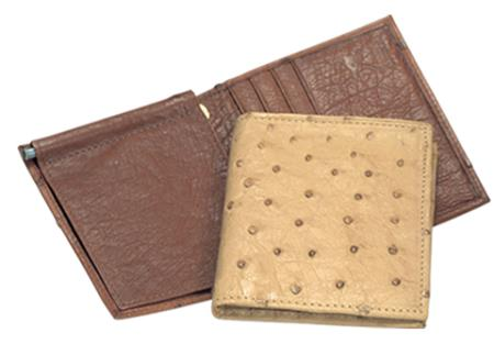 Men's Genuine Exotic Animal Skin Ferrini Genuine Full Quill Ostrich Money Clip in Dark Brown & Bone