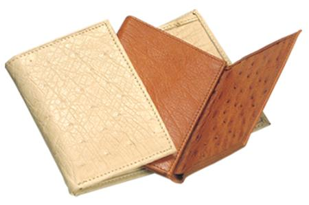 Mens Genuine Exotic Animal Skin Ferrini Genuine Smooth Ostrich Wallet Buttercup, Oryx, Cognac & Bone