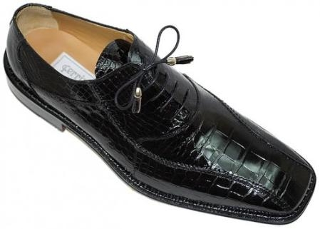 SKU#JX844 Ferrini Black All-Over Genuine Alligator Shoes $919