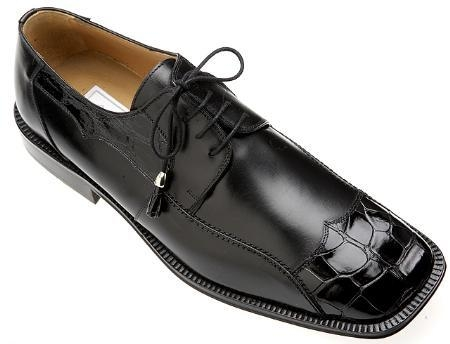 SKU#VT973 Ferrini Black Genuine Alligator/Calf Shoes